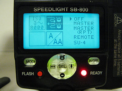 SB-800のリモート発光への切替